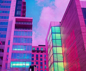 pink, city, and neon image
