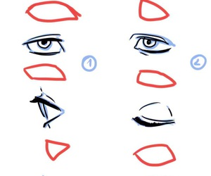 drawing, eyes, and reference image