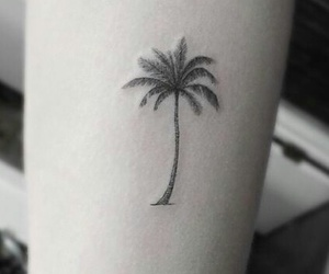 tattoo, palm tree, and beach image