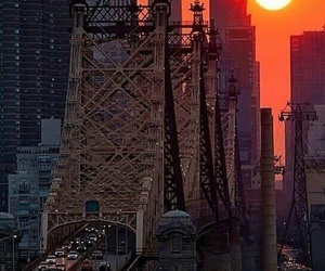 new york, sun, and sunset image