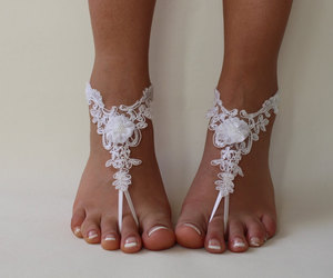 etsy, barefoot sandals, and white lace shoes image