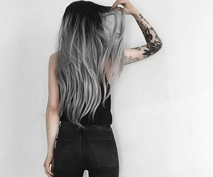 hair, black, and tattoo image