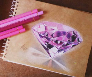 diamond, art, and pink image