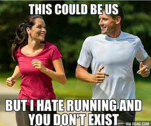 funny, couple, and running image