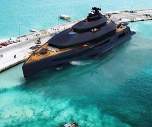 black, sea, and yacht image