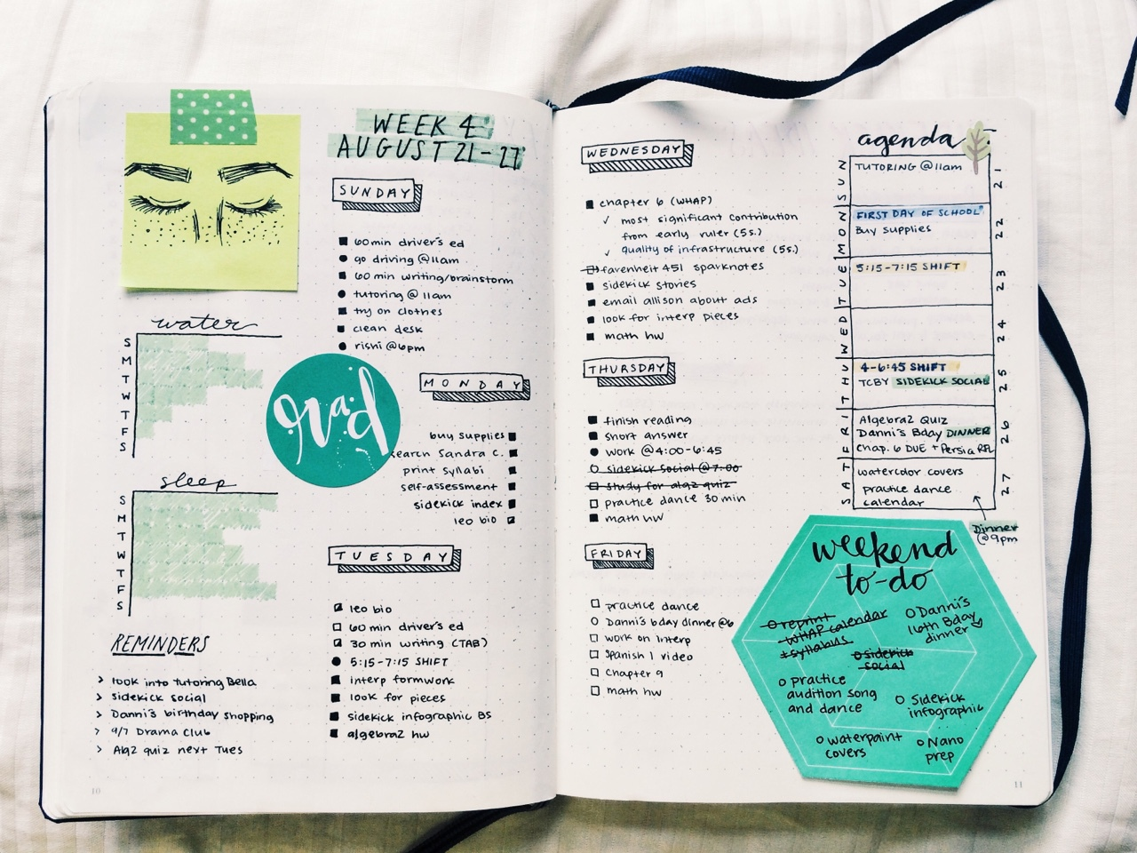 Collage, study, and bullet journal image
