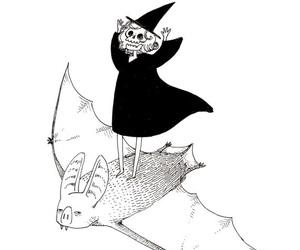 bat, black and white, and skeleton image