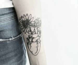 flowers, heart, and outlines image