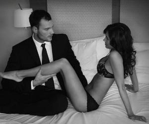 bed, man, and black and white image
