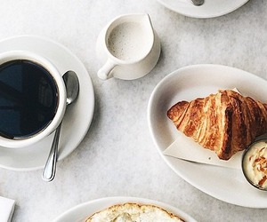 breakfast, coffee, and croissant image