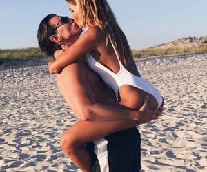 beach, couple, and kiss image