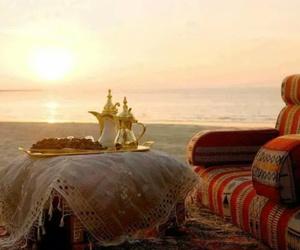 beach, tea time, and عربي image