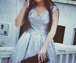 girls, sparkle dress, and grey image