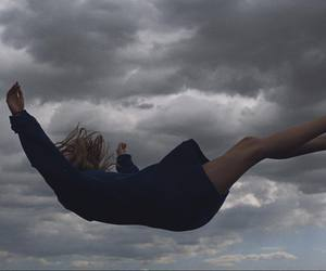 falling, girl, and sky image