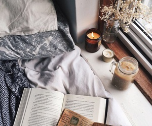 book, candle, and autumn image