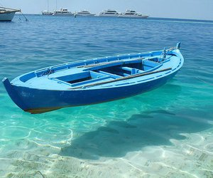 boat, blue, and sea image