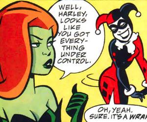 batgirl, harley quinn, and batman image