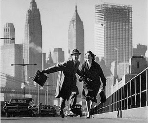 couple, new york, and black and white image