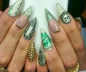 nails, money, and nail art image