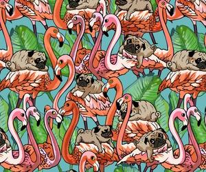 background, dog, and flamingo image