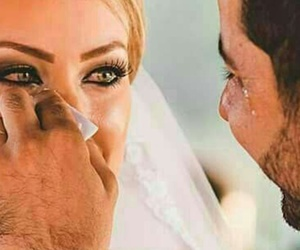 couple, wedding, and cry image