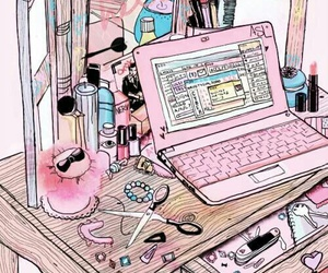 pink, girly, and art image