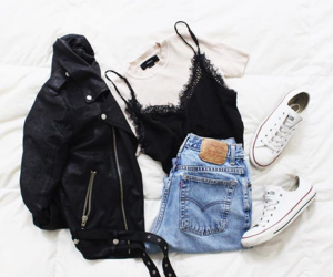 converse, jeans, and leatherjacket image