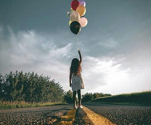 baloons, girl, and road image