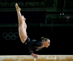 gymnast, gymnastics, and balance beam image