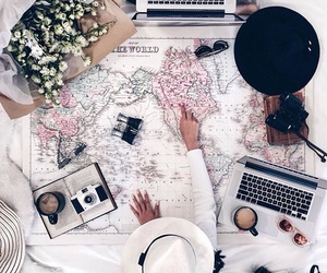 flowers, travel, and map image