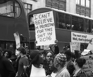 protest, 2016, and black and white image