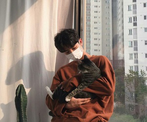 cat and ulzzang boy image