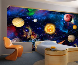 children's room, wall mural, and planets image