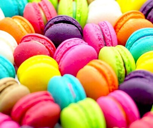 colors, food, and macaroons image