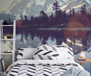 bedroom, forest, and mountains image