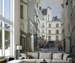 buildings, wall mural, and living room image