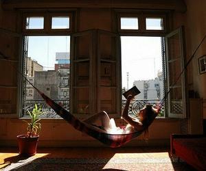 book, reading, and hammock image