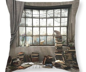 books, cat, and room image