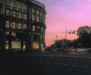 city, pink, and sunset image