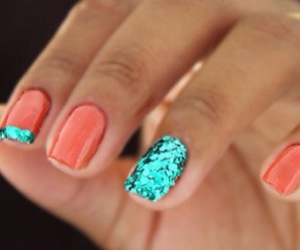 blue, turquoise, and nails image