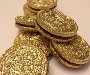 food, gold, and oreos image