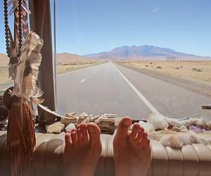 road, feet, and travel image