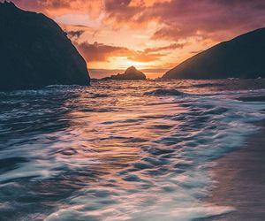 mountains, ocean, and sunrise image