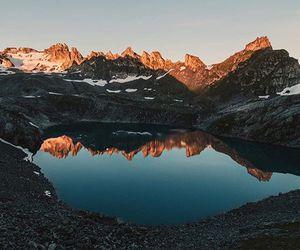 lake, mountains, and sunrise image