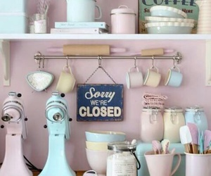 pastel, kitchen, and pink image