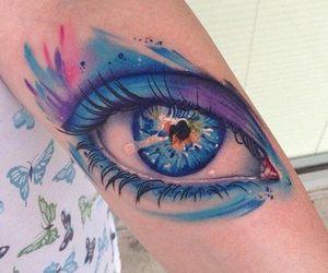 tattoo, eye, and blue image