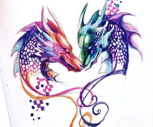art, colors, and dragon image
