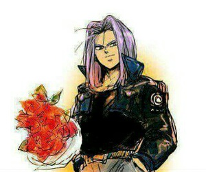 trunks, dragon ball, and flowers image