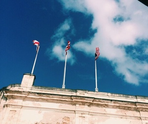 clouds, flags, and sky image