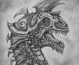 black and white, dragon, and drawing image